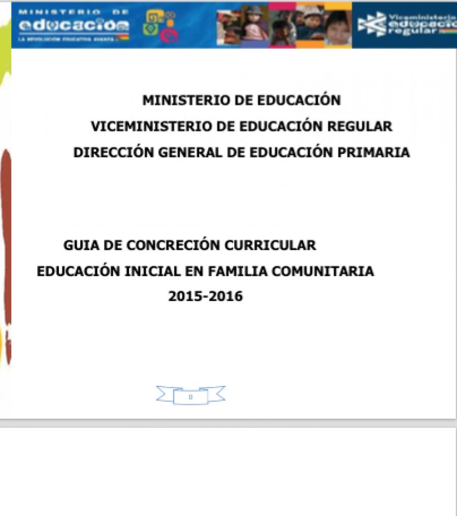 Gu a de concreci n curricular educaci n inicial en for Programa curricular de educacion inicial